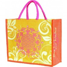 Spirit of OM Jute-Tasche, gelb-orange-pink
